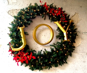 An outdoor wreath with the best message -- JOY