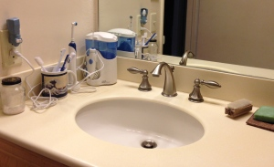 My bathroom counter -- with 12 items removed and put away.