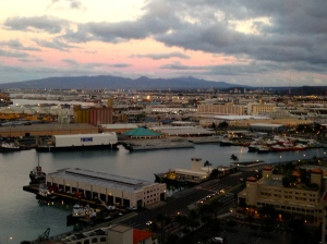 looking down on Honolulu Harbor just before 7 a.m.