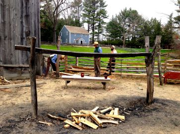 A farm fire pit on the 1838 circa Old Sturbridge Village