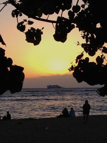 Sunset at the Hau Tree Lanai -- Waikiki