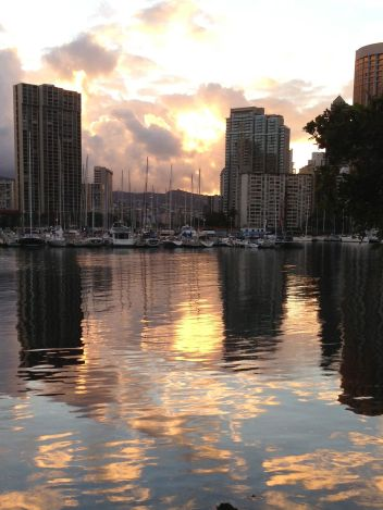 Morning light over Waikiki from Magic Island