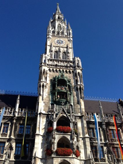 Marienplatz clock tower in Munich