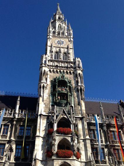 Marienplatz clock tower in Munich