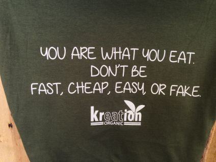 A tee shirt for sale at a JUICE BAR in Beverly Hills