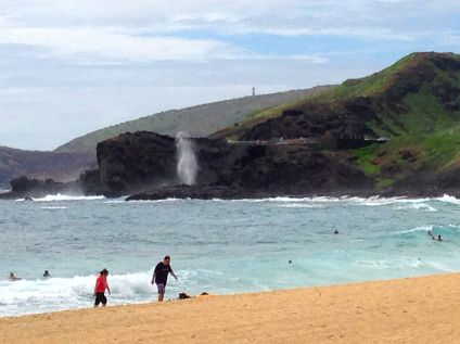 At Sandy Beach, looking back at the Blowhole below Koko Crater