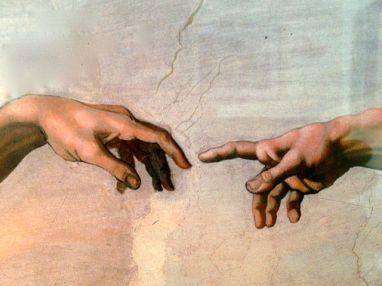 A detail from Creation by Michelangelo: Adam and God