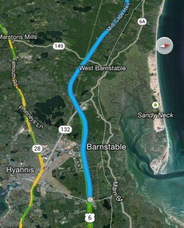 a Google Map of Cape Cod