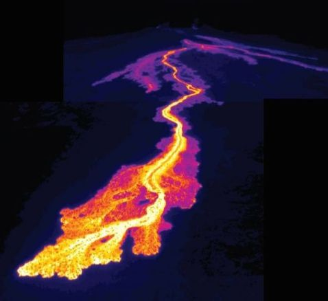 A thermal image of Pu'u O'o on the Big Island