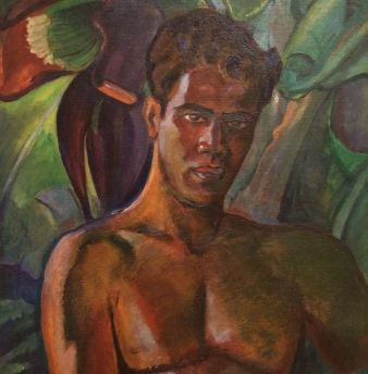 A man of Hawaii -- a painting in the Art Deco of Hawaii exhibit at the Honolulu Museum of Art