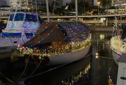 Christmas lights in marina
