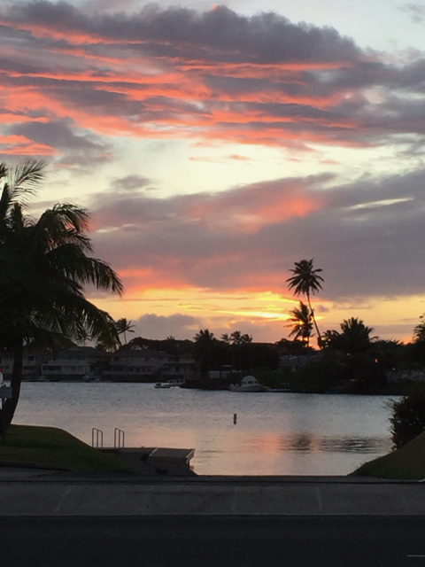 Sunset over our marina